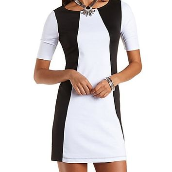 Color Block Shift Dress by Charlotte Russe - Black/White