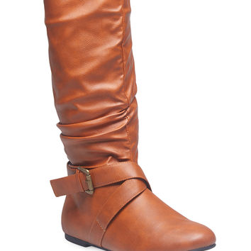 Slouchy Cross Strap Boots | Wet Seal
