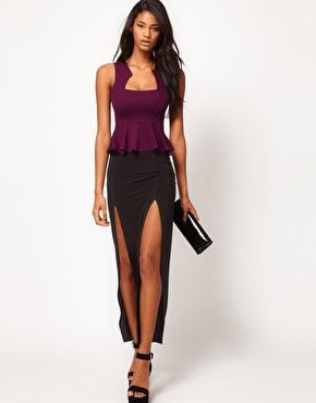 Oh My Love Thigh Split Jersey Maxi Skirt at asos.com