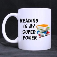 Reading Is My Super Power White Coffee or Tea Mug - Funny coffee mug, unique coffee mugs, coffee love, coffee lover gift