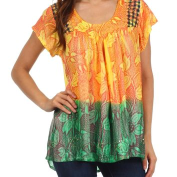 Sakkas Lisa Embroidered Ombre Blouse