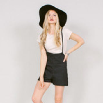 Black denim suspender shorts