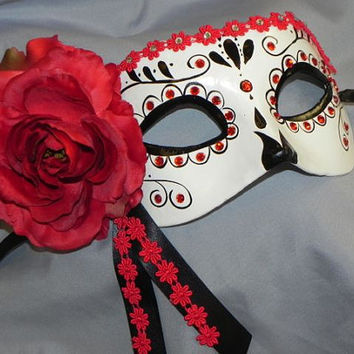 Red, Black and White Day of the Dead Mask - Halloween Mask