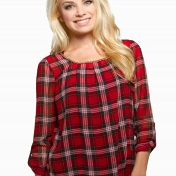 MINE PLAID CHAIN TOP