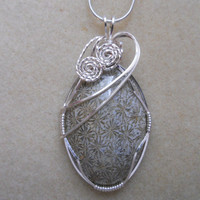 Grey Flower Fossil Coral Wire Wrapped Pendant