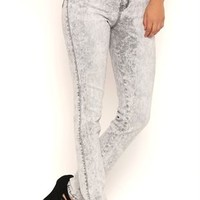 Almost Famous Grey Acid Wash High Waisted Jeggings