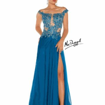 Mac Duggal Prom or Evening Gown Style 61355P Size 10 Peacock
