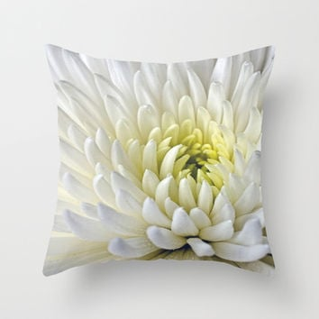 White Dahlia Flower Throw Pillow by Alice Gosling