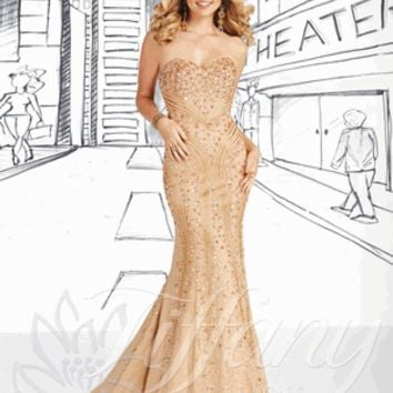 Tiffany Prom Dress / Evening Gown Style 16022 Size10 in Gold Multi