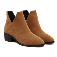 Brown Cut Out Ankle Boots - Choies.com