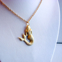 sold out - Mermaid Charm Necklace - Small - Vintage White - Hand Painted Patina - Brass - Ocean Sea Beach