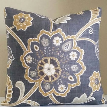 Gray Pillow Cover - Charcoal Gray Floral Pillow - Pick Your Pillow Size - 16 inch. 18 inch, 20 x 20, 24x24,  26 x 26