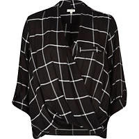 Black check twist wrap blouse