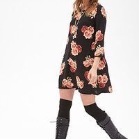 FOREVER 21 Rose Print Shift Dress Black/Blush