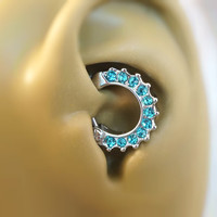16 Gauge Light Blue Crystal Daith Ring Clicker Bull Ring Nose Piercing