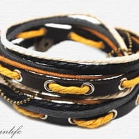 Hand-woven ethnic leather hemp bracelet BD27