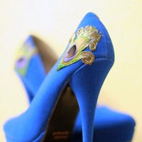 Royal Blue Peacock Platform Pumps  Size 65 by LaPlumeEthere