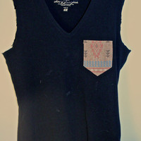 Black Tank with Aztec Pocket
