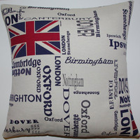 FREE DELIVERY Union Jack English City London Oxford Pillow Cushion Cover