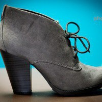 Soda Percy-H Grey Lace Up Ankle Bootie - Shoes 4 U Las Vegas