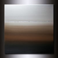 30x30 Horizon Painting : Neutral Abstract Beige Earth tones