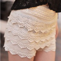 Lace Short with Scallop Detailing