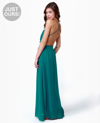 Backless Dress on Lulu S Exclusive Rooftop Garden Backless Teal Maxi Dress On Wanelo