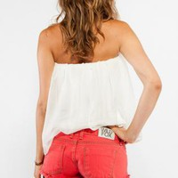 Distressed Coral Denim Cutoffs with Exposed Pocket Lining