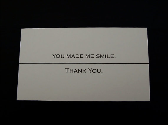 "Set of 20 ""You Made Me Smile . . . Thank You"" --- business cards"