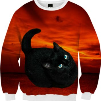 Black Cat Fall Sweatshirt created by ErikaKaisersot | Print All Over Me