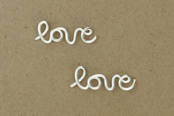 Love Earrings : Sterling Silver Plated Love Stud Earrings, Cartilage, Single, Word, Handwritten, Cursive, Affirmation, Ear Cuff