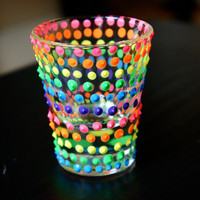 2 Hand painted Rainbow Dot Shot glass  CUSTOM