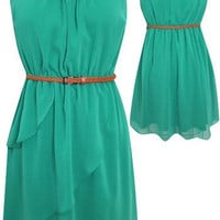 Cutout Back 'Sadie' Dress w/ Belt (Green)