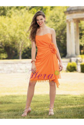 Simple Scoop Neck Short Orange Chiffon Wedding Party Dress