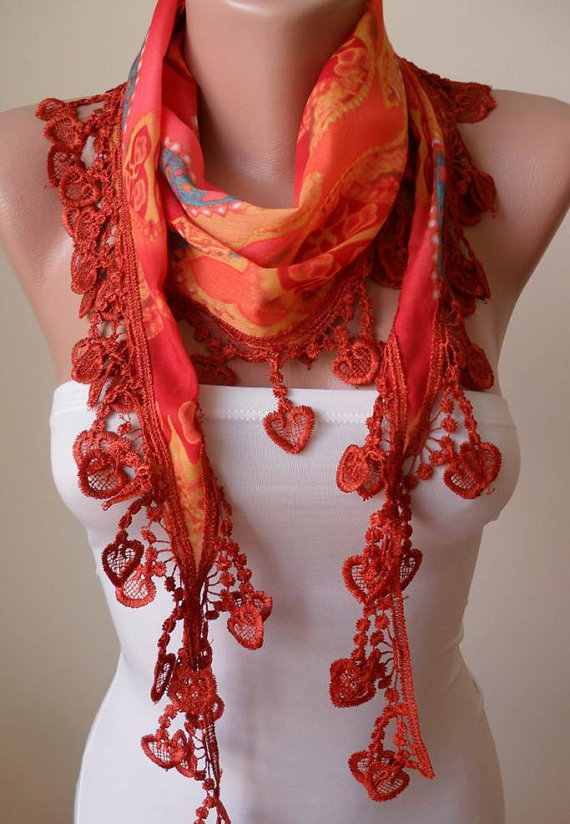 Orange Scarf with Orange Trim Edge - Summer Colors -- New