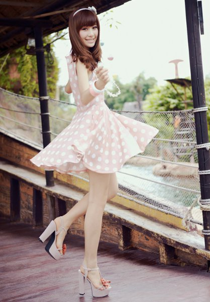 Women New Chiffon Dotted Scoop Short Falbala Pink Dress S/M/L@IM2080p $17.94 only in eFexcity.com.