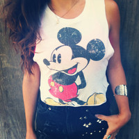 Reworked Disney Mickey mouse crop top shirt