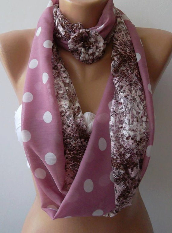 Pink -Lace and fabric/ -Infinity /Shawl/Scarf.