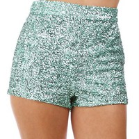 Mint Sequin Short