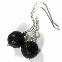 Black Lava Round Gemstone Dangle Earrings With Sterling Silver