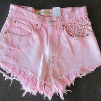EXTREME SALE Upcycled Pink Studded Denim Levis