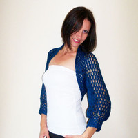 Wedding lace bolero shrug / Angora bolero jacket / Blue crochet bolero shrug