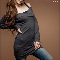 Grey Cotton Double Straps Fitted Women Dress @T985g - $9.57 : DressLoves.com.