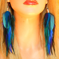 Night Sky Long Feather Earrings Ready to Ship by wildspirits