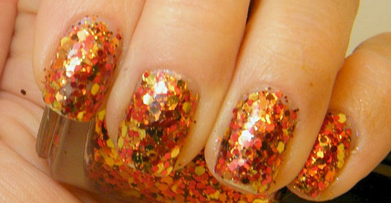 Autumn Leaves: hand mixed glitter nail polish Full size .5 oz.