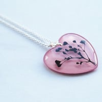 Pressed Flower Necklace 02 Pink Heart Resin Jewelry Real Flower Pendant Love Romantic 925 Silver Plated