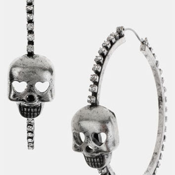 Betsey Johnson 'Black Label' Skull Hoop Earrings | Nordstrom