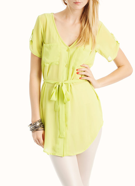 semi-sheer-shirtdress GREEN - GoJane.com