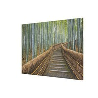 Bamboo Lined Path at Adashino Nembutsu-ji Temple Stretched Canvas Prints from Zazzle.com