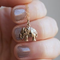 Indian Elephant Charm Necklace - Solid Bronze Elephant Pendant . 14K Gold-Filled Chain . Ethnic, Exotic & Bohemian